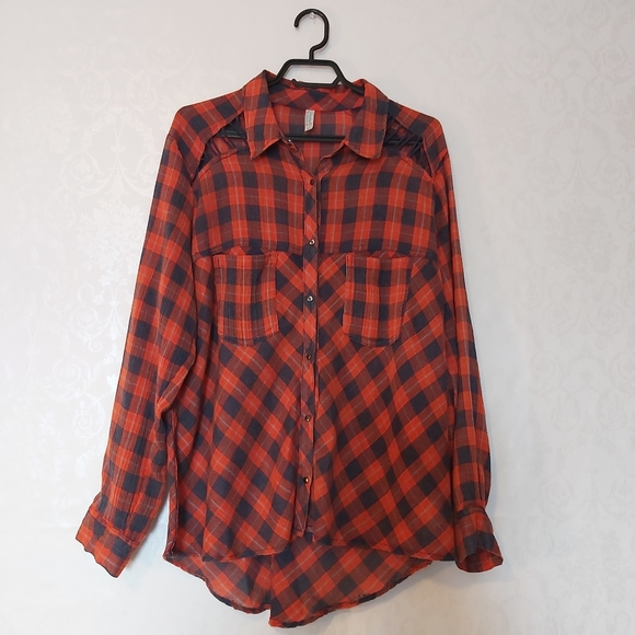 Free People red blue plaid button down cut out